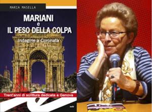 """Nella foto la copertina del romanzo """"Mariani e il peso della colpa"""" e l'autrice Maria Masella"""